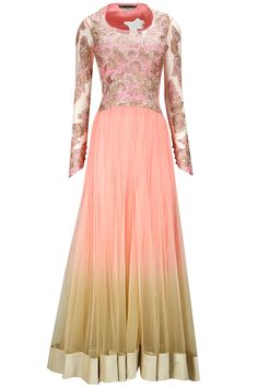 Bright pink to gold broacde applique anarkali