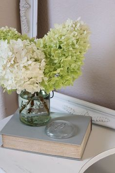 Hydrangeas are my favorite flower and I love incorporating them into rooms. I have a huge vase of them on my bedside table!