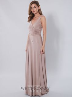 Kresta Dress. Beautifully gathered v-neck full length gown. Lots of fabric with draping detail. Stretch jersey material to enable an easy fit - pull on, pull off dress with no zips. Slight train on the back of dress. Maximum custom length allowed is 170cm from shoulder to hem.