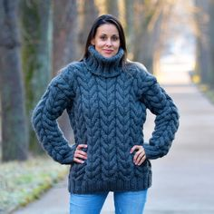 Designer GRAY Hand Knitted Wool non Mohair Sweater Ribbed Pullover EXTRAVAGANTZA #Extravagantza #Turtleneck