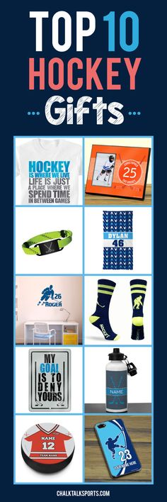 Top 10 Hockey Gift ideas for guys! Perfect gift ideas for holidays, special occasions, and end of season gifts! These products are made-to-order and can be personalized with your team and hockey player's info! Only from ChalkTalkSPORTS.com!