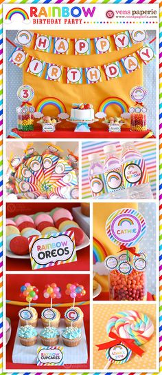 Rainbow Birthday Party Package Personalized MINI by venspaperie, $29.00