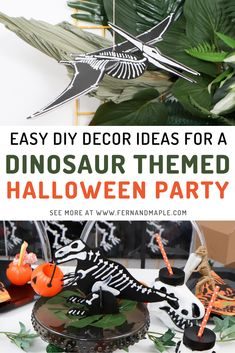 Get step-by-step instructions for creating easy DIY Dinosaur Themed Halloween decor, including backdrop props, centerpieces, and tableware! Perfect for a pre-trick-or-treating party for kids. Get all of the details now at fernandmaple.com! Dinosaur Halloween, Dinosaur Birthday Party, Holidays Halloween, Halloween Diy, Halloween 2020, Diy Party Decorations, Halloween Decorations, Halloween Party Favors, Different Holidays
