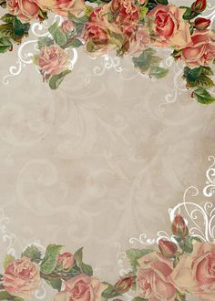 Pretty paper for scrapping, wrapping or whatever. Molduras Vintage, Decoupage, Diy And Crafts, Paper Crafts, Writing Paper, Printable Paper, Vintage Frames, Flower Frame, Paper Decorations