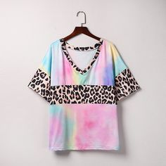 Feitong Women Tie Dying Leopard T Shirt Summer Patchwork V Neck Short Sleeve Tshirt Womens Tops And Shirts Camiseta Mujer TShirt - Pink / XXL / China