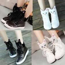 Fashion Women round toe Cat Cartoon Lace up platform Sneakers girl Shoes new hot