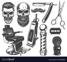 Find Set Vintage Monochrome Barber Tools Elements stock images in HD and millions of other royalty-free stock photos, illustrations and vectors in the Shutterstock collection. Thousands of new, high-quality pictures added every day.