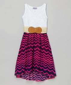 Love this Navy & Pink Hi-Low Belted Dress - Girls on #zulily! #zulilyfinds