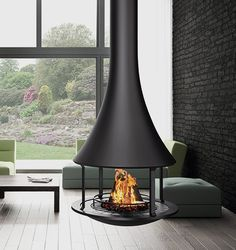 Central wood design fireplace with open hearth ZELIA 908 Suspended Fireplace, Hanging Fireplace, Freestanding Fireplace, Open Fireplace, Stove Fireplace, Fireplace Design, Patio Heater, Hearth, Home Decor