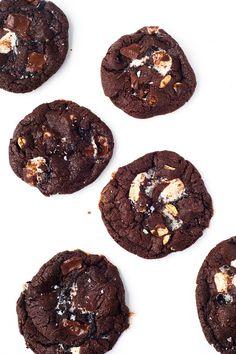 Thin and crispy Dark Chocolate Marshmallow Cookies   via sweetestmenu.com
