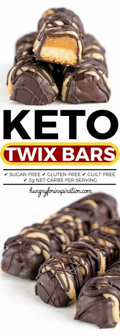 Keto Twix Bars – For real? Twix- Inspired Homemade Keto Bars with only net carbs per bar! Delicious, healthy and low carb! Low Carb Candy, Keto Candy, Low Carb Keto, Low Carb Recipes, Diet Recipes, Low Carb Bars, Keto Postres, Twix Bar, Low Carb Deserts