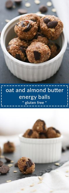no-bake oat and almond butter energy balls have just 5 ingredients, are gluten free, and are quick to make. great snack or healthy dessert!