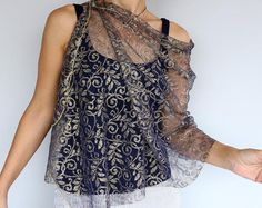 Navy French Lace Shawl Stole, Gold Embroidered Dainty Scarf, Shoulder Wrap, Silver Evening Shoulder Cover, Mother of the Bride Fashion