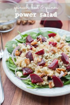 Spinach, Beet and Quinoa Power Salad  with an Apple Cider Vinegar Shallot Dressing -- restaurant quality but easily made at home!