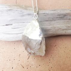 Apollonia // Sparkly Large Raw Clear Quartz Crystal Necklace, Chakra Jewelry, Yoga Necklace Sterling Silver Dipped, Gifts under 40, Raw Gemstone necklace, Jewelry for Women by Nesoi Collection