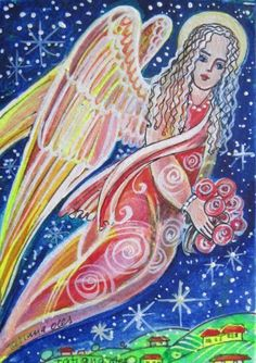 ACEO Angel in the sky watercolor by Tatiana Oles #contemporary