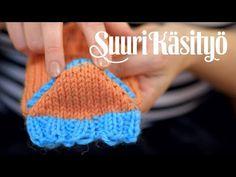 Arkimamman Arkiralli: Tiimalasikantapää Knitting Videos, Boot Cuffs, Knitting Socks, Fingerless Gloves, Arm Warmers, Lana, Knitting Patterns, Teet, Crochet Hats