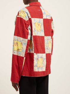 Patchwork cotton jacket | Bode | MATCHESFASHION.COM UK Dress Up Boxes, Spring Jackets, Antique Quilts, Cotton Jacket, Herschel Heritage Backpack, Cotton Canvas, Quilted Coats, Thrifting, Scrappy Quilts
