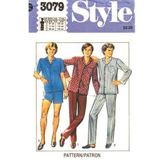 Mens Pajama Pattern Style 3079 Long Pajama Pants or or Shorts Size S M L XL Vintage Pattern - product images  of