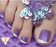 Lavender with white line, think this would look better on finger nails