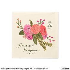Vintage Garden Wedding Paper Napkins Hand painted red and pink floral design by Shelby Allison. Perfect for a rustic spring time wedding! For matching invitations, reply cards, stickers and other items click on the link below to view the entire Vintage Garden Collection.