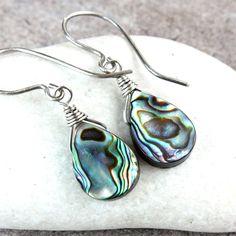 Abalone   Earrings    Oxidized Silver  Drop Pearl  Earrings