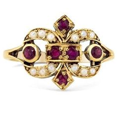 Victorian  9K Yellow Gold Ruby and Pearl by BrilliantEarthInc, $1150.00