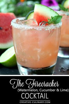 Not just for the of July; The Firecracker is fantastic all summer long with Watermelon, Lime and Cucumber! via Not just for the of July; The Firecracker is fantastic all summer long with Watermelon, Lime and Cucumber! Watermelon Vodka Drinks, Cucumber Drink, Vodka Cocktails, Watermelon Slices, Cucumber Cocktail Vodka, Cucumber Margarita, Refreshing Cocktails, Summer Drinks, Fun Drinks