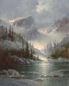 The Heavens Declare by artist G. Harvey is just one of the many discounted limited edition fine art prints and canvases for sale at Christ-Centered Art. Watercolor Landscape, Landscape Art, Landscape Paintings, Pictures To Paint, Art Pictures, G Harvey, Moonlight Painting, Winter Painting, Mountain Paintings