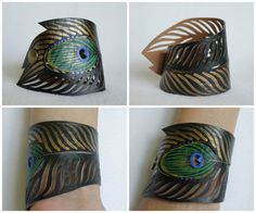 Peacock Faux Leather Cuff, Gold Feather Bracelet Black Leather, Hand Painted Peacock Cuff, Gifts for Her on Etsy, $26.00