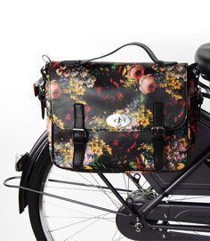 Floral print, satchel style bike pannier