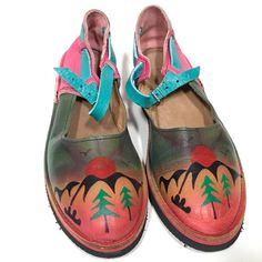 Hand Painted Leather Mary Jane Shoes Colorful Southwestern Vintage Soletech