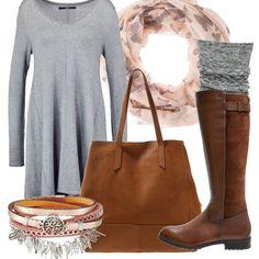 Outfit informale composto da abito svasato in maglina portato con stivali con tacco basso, scalda muscoli e shopping bag. Scaldacollo e bracciale dalla nuance delicata per completare il look.