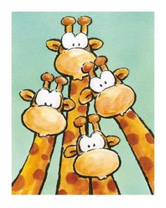 ''Funny Friends Ii'' by Jean Paul Kunst Graphics Art Print Giraffe Drawing, Giraffe Art, Cartoon Giraffe, Cute Drawings, Animal Drawings, Art Fantaisiste, Kunst Poster, Funny Art, Whimsical Art