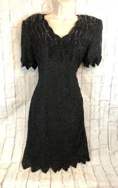 01abf62e5dd Laurence Kazar Vintage Black Beaded Sequin Cocktail Formal Dress Size Large