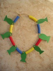 DAY 4 CRAFT Loaves And Fishes Necklace Link To An Easy Craft Using Construction Paper Pasta I Would Use Fun Foam For The Fish Instead Of