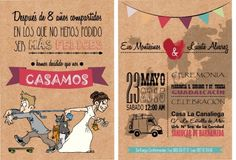 invitaciones personalizadas diseño desing original wedding beach boda en la playa simple love happy novia novio DIY