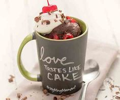 Black Forest Mug Cake Recipe │Single serving chocolate fudge cake made in just 60 seconds. top with whipped topping and cherries. Walnut Kernels, Tastefully Simple Recipes, Caramel Icing, Chocolate Fudge Cake, Cinnamon Powder, Whipped Topping, Black Forest, Carrot Cake, Cherries