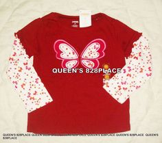 d08c05a9a17 Nwt Gymboree Girls size 3 3T Butterfly Girl red floral long sleeve top  t-shirt