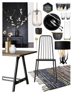 """Dining Room"" by ladomna ❤ liked on Polyvore featuring interior, interiors, interior design, home, home decor, interior decorating, David Jones, Cutipol, Pier 1 Imports and HAY"