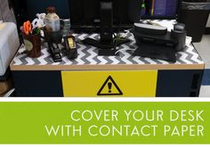 Cover your Desk with Contact Paper (Purchased at TJ Maxx)....from Mrs. Harris Teaches Science
