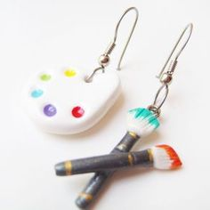 Painters Palette & Paintbrush Earrings - Miniature Canvas And Easel Polymer Clay by Maria Gazabon