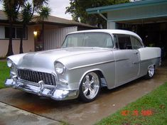 55 Bel Air, bright silver / white, shows off the chrome nice