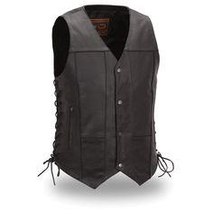 Men's Black Leather vest 10 Pockets Motorcycle vest Biker Vest S To Motorcycle Vest, Motorcycle Leather, Biker Gear, Leather Biker Vest, Leather Men, Leather Clutch, Concealed Carry, Black Laces, Cowhide Leather