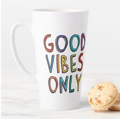 Express your good spirits and let everyone know you are offering good vibes only!  #lattemug #mug #goodvibesonly #goodspirits #Letters, #highvibes, #goodmood, #goodenergy, #highfrequency, #colorful, #words, #bysarito Latte Mugs, Good Spirits, Good Energy, 4 H, Everyone Knows, Good Vibes Only, Good Mood, Coffee Drinks, Letters