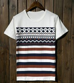 Geometric Print Color Block Striped Short Sleeve Round Neck Slimming Cotton…