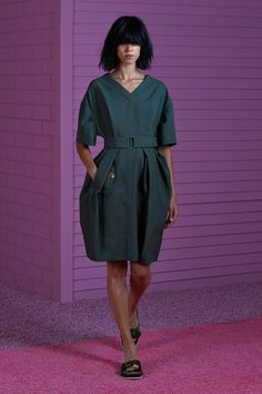 Wool Gabardine V-Neck Dress