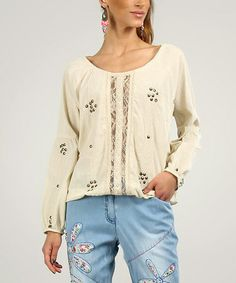 This Beige Lace Embellished Scoop-Neck Top by Peace and Love is perfect! #zulilyfinds