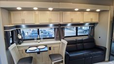 Beachfront decor in the dinette of this 45FB Toy Hauler Luxury Fifth Wheel, Fifth Wheel Toy Haulers, Build Your Own, Kitchen Cabinets, Toys, Building, Home Decor, Diy, Activity Toys
