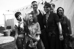 Willow Smith, Jaden Smith, Will Smith and Queen Latifah backstage at Afropunk Fest in Commodore Barry Park in Brooklyn, New York.